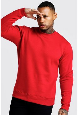 Mens Red Crew Neck Sweatshirt