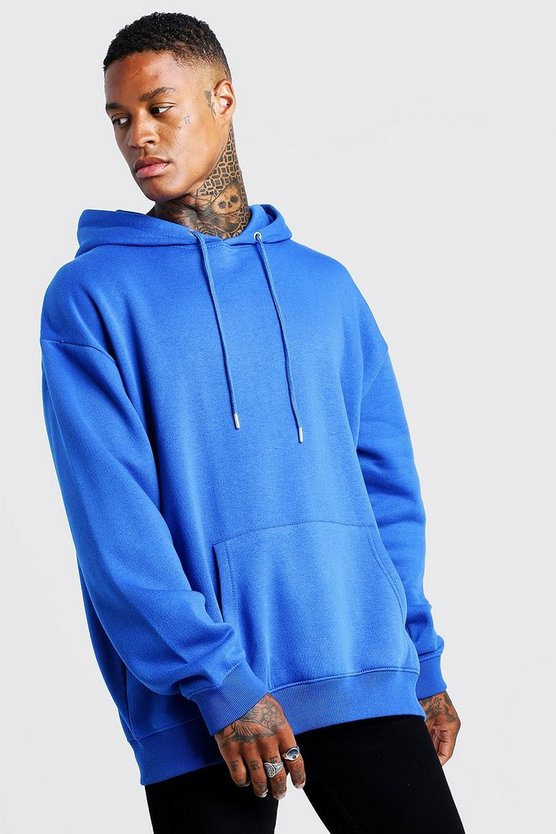 Mens Cobalt Fleece Oversized Over The Head Hoodie