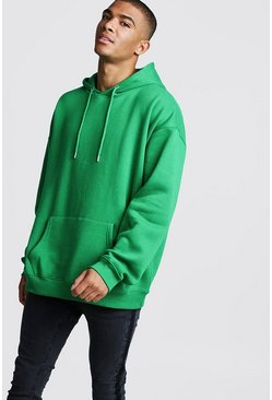Mens Green Fleece Oversized Over The Head Hoodie