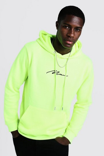 Mens Neon-yellow Man Signature Over The Head Fleece Hoodie
