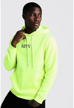Mens Neon-yellow Original MAN Print Over The Head Hoodie