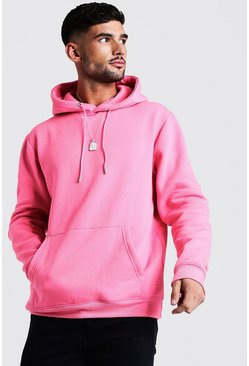 Mens Neon-pink Basic Over The Head Fleece Hoodie