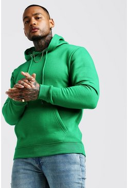 Green Basic Over The Head Fleece Hoodie