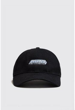 Mens Black MAN International Embroidered Cap