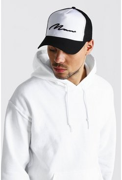 Mens Black MAN Script Colour Block Trucker Cap