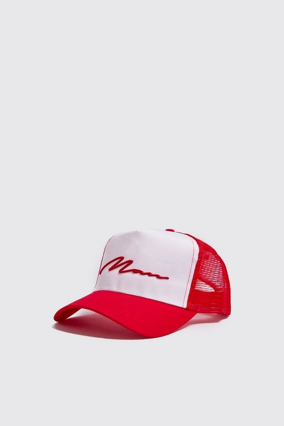 Mens Red MAN Script Colour Block Trucker Cap