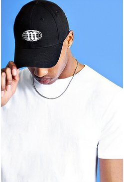Mens Black Mist Globe Embroidered Cap