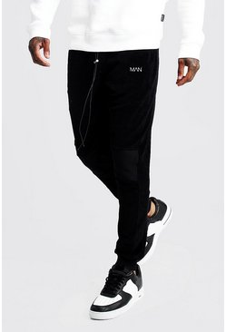 Mens Black Original MAN Velour Biker Joggers