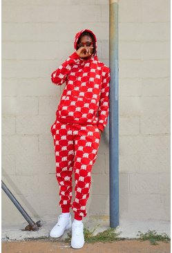Mens Red M Repeat Print Hooded Tracksuit