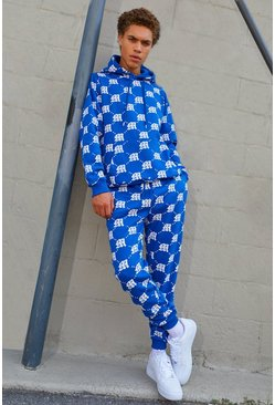 Cobalt M Repeat Print Hooded Tracksuit