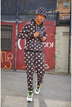 Mens Black M White & Red Repeat Printed Hooded Tracksuit