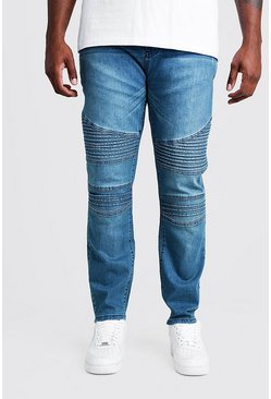 Mid blue Big & Tall Skinny Fit Jean With Biker Detail