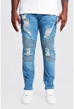Mid blue Big & Tall Skinny Fit Biker Jean Extreme Rips