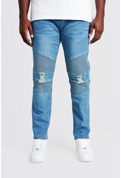 Mens Big & Tall Mid Blue Biker Detail Skinny Fit Jean