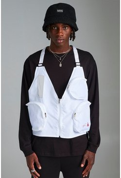 Mens White MAN Utility Vest With Strap Detail