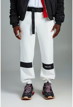 Mens White MAN Loose Fit Borg Fleece Joggers