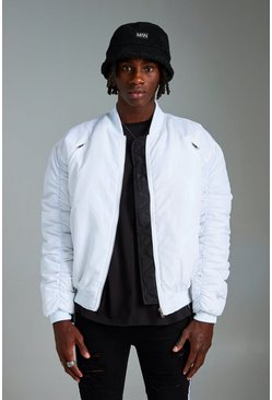 Mens White MAN Oversized Bomber Jacket
