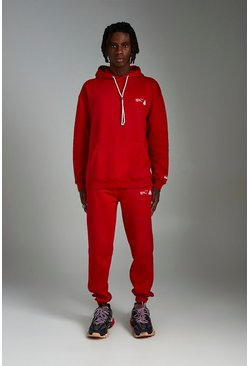 Red MAN Loose Front And Back Print Tracksuit
