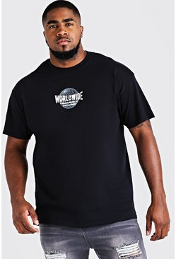 Mens Black Big & Tall Worldwide Print T-Shirt