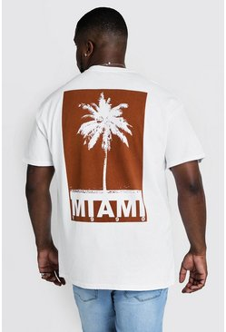 Herr White Big & Tall Miami Print T-Shirt