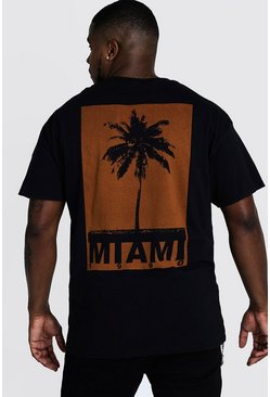 Herr Black Big & Tall Miami Print T-Shirt