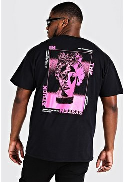 Mens Black Big & Tall Print Front & Back Print T-Shirt