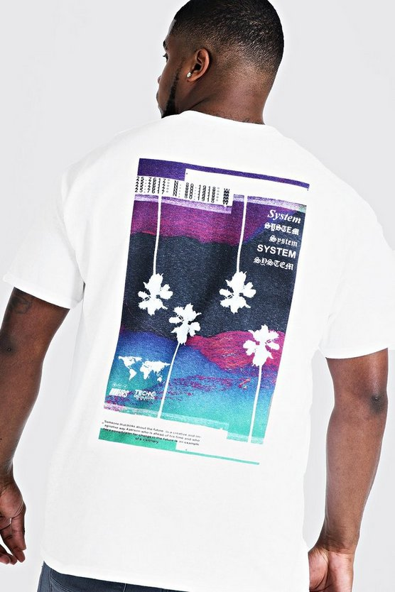 Mens White Big & Tall System Print T-Shirt