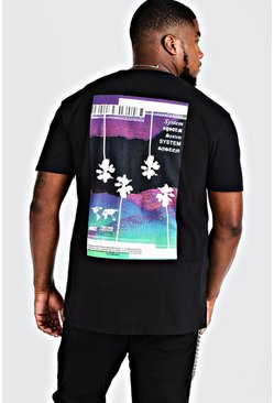 "Camiseta con estampado ""System"" Big & Tall, Negro, Hombre"
