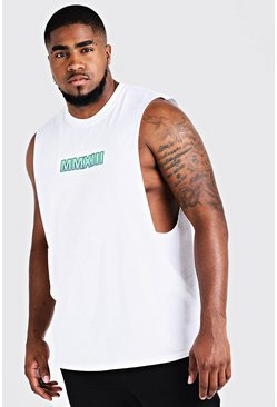 Big & Tall MAN Drop Armhole Tank With Print, White, Uomo