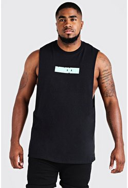 Mens Black Big & Tall MAN Drop Armhole Tank With Print