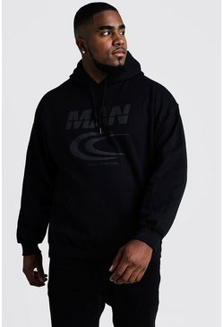 Herr Black Big & Tall MAN Reflective Print Hoodie