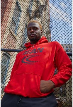 "Red Big & Tall - ""MAN"" hoodie med reflekterande tryck"