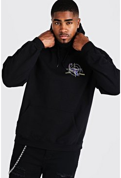 Mens Black Big & Tall Scorpion Back Print Hoodie