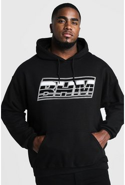 Mens Black Big & Tall MAN Branded Print Hoodie