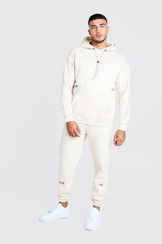 Mens Beige MAN Loose Fit Print Tracksuit