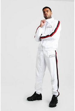 White MAN Shell Tracksuit With Rubber Detail