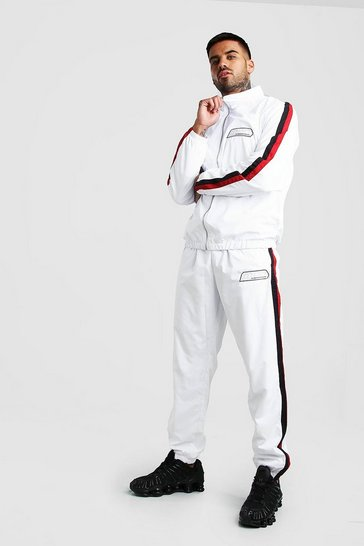 Mens White MAN Shell Tracksuit With Rubber Detail