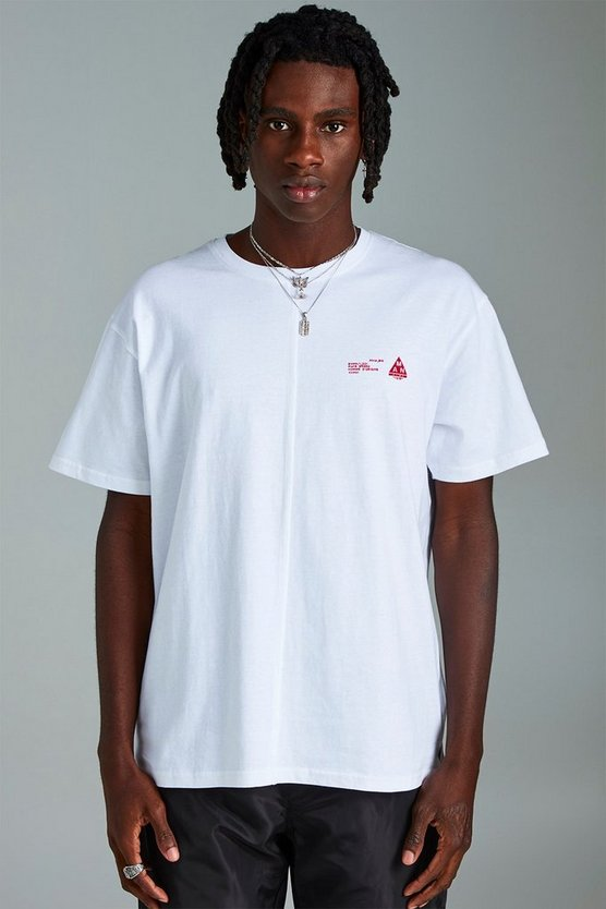Mens White MAN Loose Fit Split Hem T-Shirt