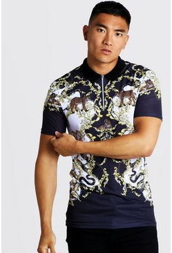 Mens White Short Sleeve Baroque & Animal Print Polo