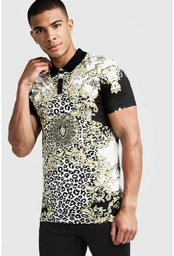 Mens Black Baroque Print Short Sleeve Polo