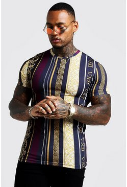 Mens Black Muscle Fit Striped Baroque T-Shirt