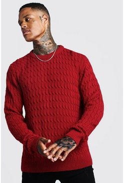 Mens Red Cable Crew Neck Jumper