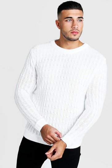 White Cable Crew Neck Jumper