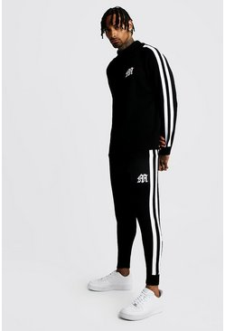 Herr Black MAN Funnel Neck Knitted Tracksuit