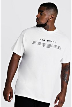 Camiseta visionaria con marca MAN Big And Tall, Blanco, Hombre