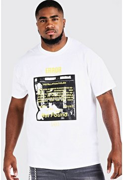 Big And Tall Error 101 Printed T-Shirt, White, HOMMES