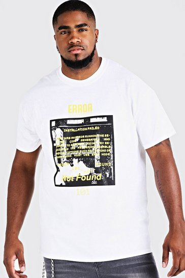 Mens White Big And Tall Error 101 Printed T-Shirt