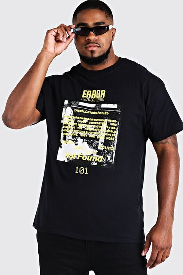 Mens Black Big And Tall Error 101 Printed T-Shirt