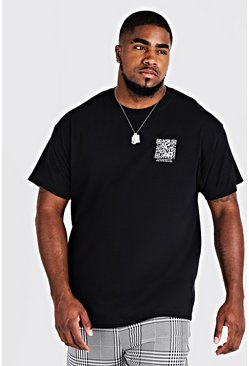 Mens Black Big And Tall MAN Branded Code Print T-Shirt