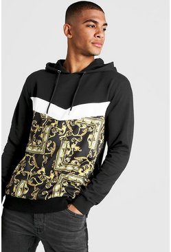 Mens Black Baroque Print Panel OTH Hoodie
